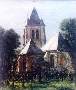 Church at Courierres   Emile Breton   Oil Painting