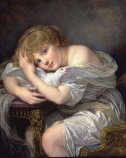 Young Girl with Dove | Jean Baptiste Greuze | Oil Painting