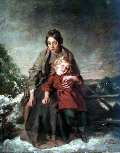 Woman and Child   Octave Tassaert   Oil Painting