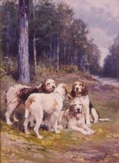 Hunting Dogs in the Forest | Charles Olivier de Penne | Oil Painting