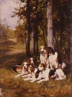 Group of Dogs in the Forest | Charles Olivier de Penne | Oil Painting