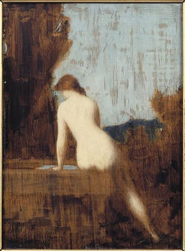 Naked Female Seated beside a Well | Jean Jacques Henner | Oil Painting