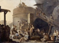 Beggars assemble beside a Lime Kiln | Sebastien Bourdon | Oil Painting