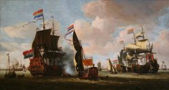The Dutch Fleet in the Harbour of Amsterdam | Abraham Jansz. Storck | Oil Painting