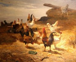A Poultry Yard | Charles Emile Jacque | Oil Painting