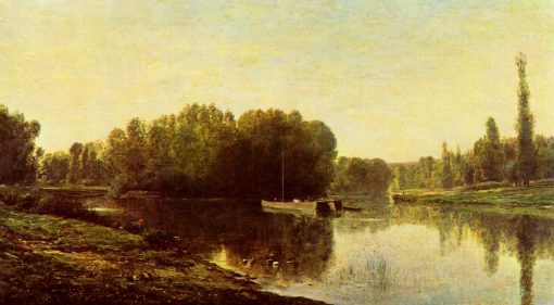 Les bords de l'Oise (Riverbank on the Oise) | Charles Francois Daubigny | Oil Painting