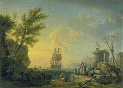 Seaport at Sunset   Claude Joseph Vernet   Oil Painting