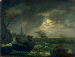 Seascape at Night | Claude Joseph Vernet | Oil Painting