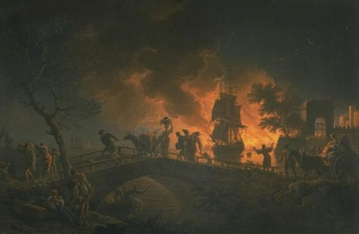 Incendie d'un port la nuit (Firestorm at Night) | Claude Joseph Vernet | Oil Painting