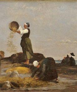 Les vanneuses a Kérity   Karl Pierre Daubigny   Oil Painting