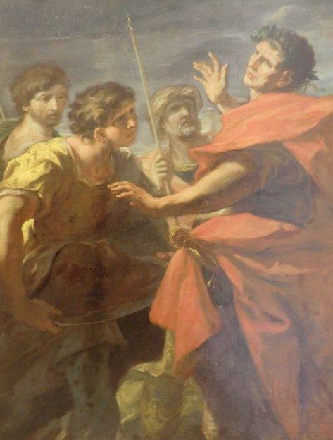 The Head of Pompey Presented to Caesar | Giovanni Antonio Pellegrini | Oil Painting