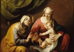 The Virgin and Infant jesus who Offers Saint Anne an Apple | Jacques Blanchard | Oil Painting