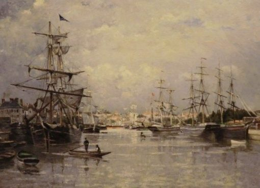 Le port de Caen   Stanislas LEpine   Oil Painting