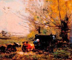 La traite des vaches dans les prés   Charles Francois Daubigny   Oil Painting