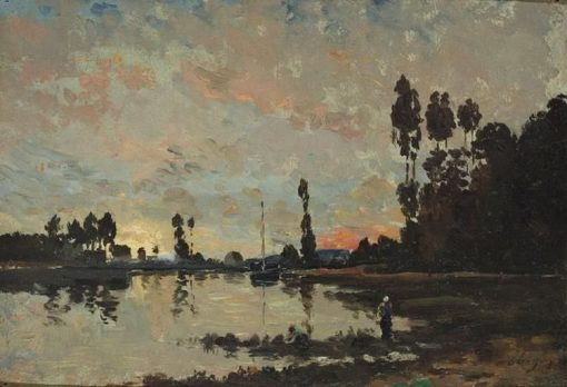 Soleil couchant sur l'Oise (Sunset on the Oise)   Charles Francois Daubigny   Oil Painting