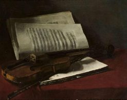 Still Life with Violin | Francois Bonvin | Oil Painting