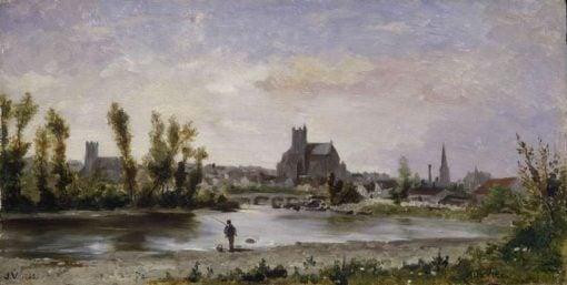 View of Auxerre | Jules Jacques Veyrassat | Oil Painting