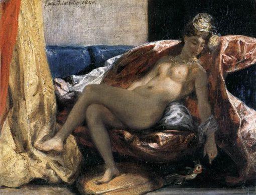 Woman Caressing a Parrot   Eugene Delacroix   Oil Painting