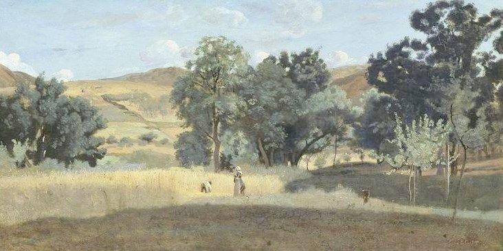 A Wheatfield in Morvan | Jean Baptiste Camille Corot | Oil Painting