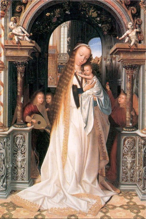 Virgin and Child Surrounded by Angels | Quentin Massys | Oil Painting