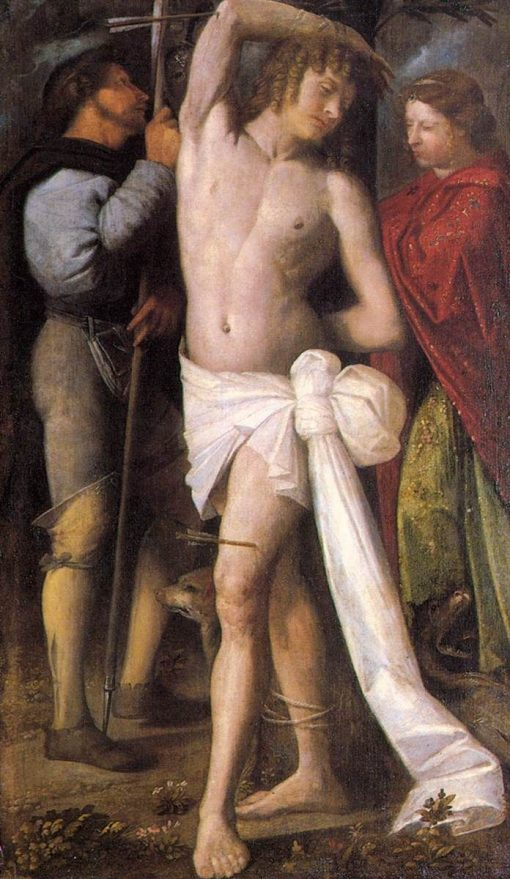 Saint Sebastian between St Roch and St Margaret | Giovanni Cariani | Oil Painting