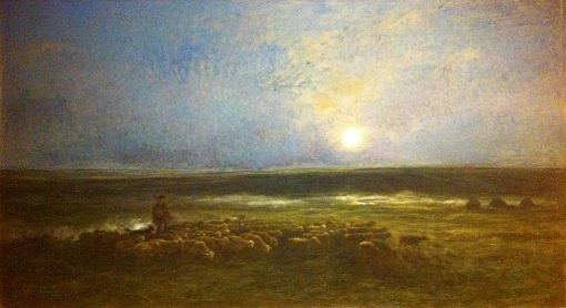 Shepherd and Herd in Moonlight at Auvers | Charles Francois Daubigny | Oil Painting