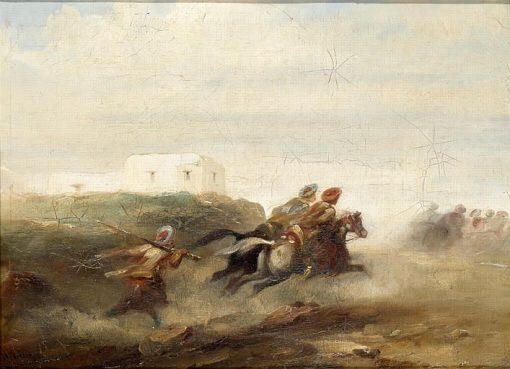Cavaliers turcs en déroute   Narcisse Dìaz de la Peña   Oil Painting