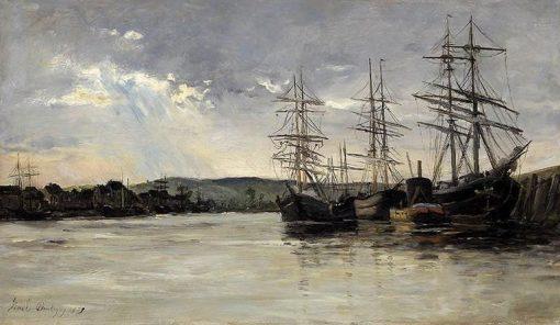 Fishermen at a River Estuary | Karl Pierre Daubigny | Oil Painting