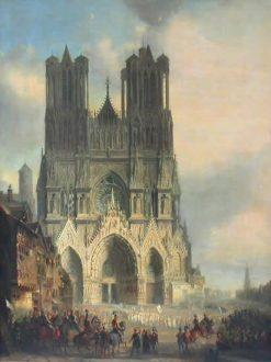 Reims Cathedral with a Medieval Procession (La cathédrale de Reims avec une procession médievale) | David Roberts | Oil Painting