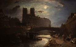 Notre-Dame de Paris by Moonlight | Johan Barthold Jongkind | Oil Painting