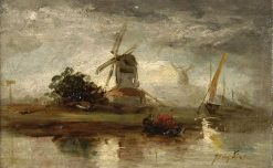 Landscape in Holland (study) | Johan Barthold Jongkind | Oil Painting