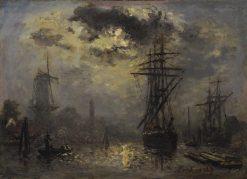 Windmills near Rotterdam | Johan Barthold Jongkind | Oil Painting