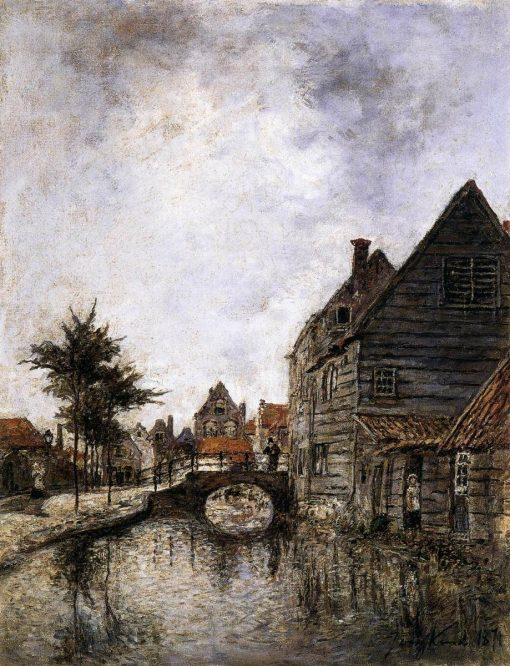 A Canal in Dordrecht | Johan Barthold Jongkind | Oil Painting