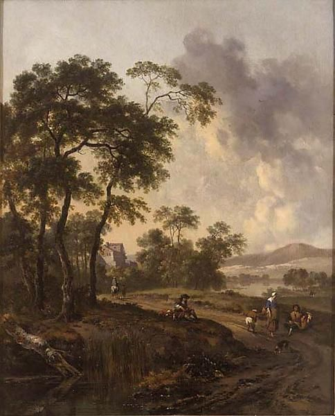 Landscape: Hunter and Dogs on the Chase | Jan Wijnants | Oil Painting