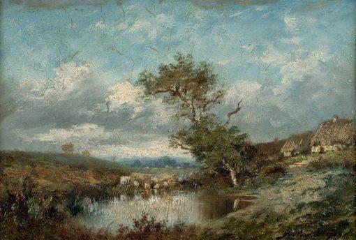 Paysage a la mare   Jules DuprE   Oil Painting