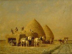 Le charrgement de la charette | Jules Jacques Veyrassat | Oil Painting