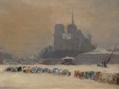 Notre Dame de Paris in the Snow | Albert Lebourg | Oil Painting