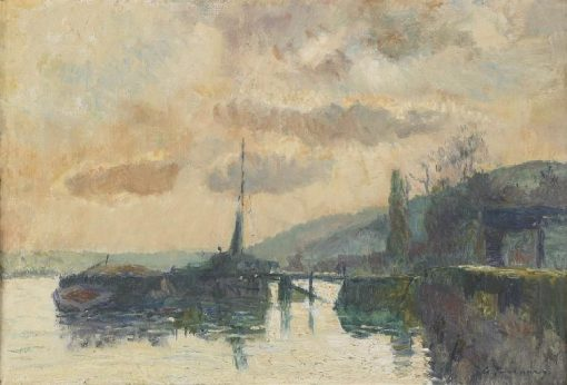 Boats in Dieppe   Albert Lebourg   Oil Painting