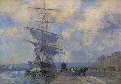 Norwegian Vessel in the Port of Rouen | Albert Lebourg | Oil Painting