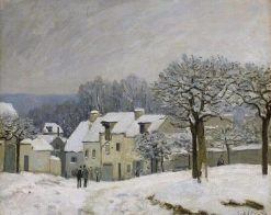 La Place du Chenil a Marly: Effet de neige (Snow at Marly) | Alfred Sisley | Oil Painting