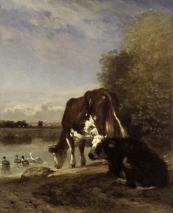 Cows at a Watering Place | Constant Troyon | Oil Painting