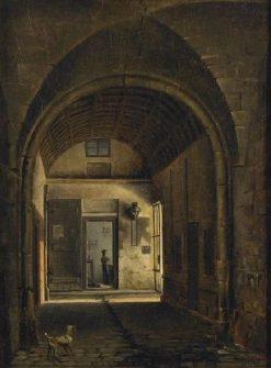 Vue du clôitre de l'eglise Saint-Paul a Paris (View of the Cloister of the Church of St-Paul in Paris) | Etienne Bouhot | Oil Painting