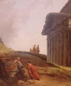 Roman Ruins with a Column and Temple | Hubert Robert | Oil Painting