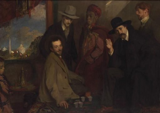 André Gide and His Friends at the Café Maure for the Exposition Universelle of 1900 | Jacques Emile Blanche | Oil Painting