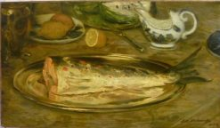 Still Life: Salmon on a Plate | Jacques Emile Blanche | Oil Painting