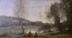 Ville d'Avray: Pond and Birch Tree with Houses Beyond | Jean Baptiste Camille Corot | Oil Painting