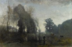 Morning Mist in Ville d'Avray: A Cowgirl | Jean Baptiste Camille Corot | Oil Painting