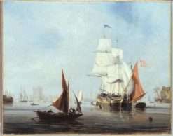 Marine aux voiles blanches | Louis Garneray | Oil Painting