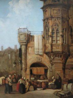 Personnages et tour gothique(also known as Market Place) | Samuel Prout | Oil Painting
