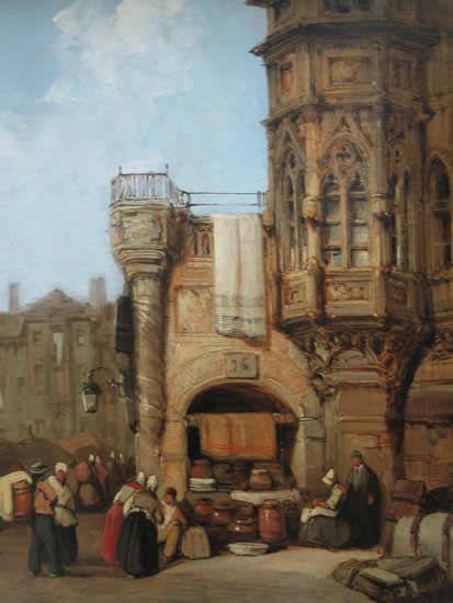 Personnages et tour gothique(also known as Market Place)   Samuel Prout   Oil Painting